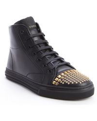 Gucci Black Leather Studded Detail Lace Up Sneakers - Lyst