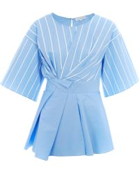 Jonathan Saunders Blue Siobhan Pleat Stripe Cotton Top blue - Lyst