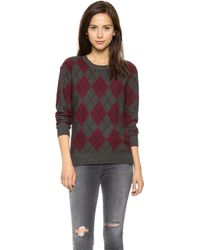 Haute Hippie Argyle Sweater  Moulinemerlotblack - Lyst