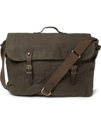 J.Crew Abingdon Waxed Cotton-Canvas And Leather Messenger Bag - Lyst