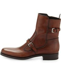 Prada Leather Doublebuckle Short Boot - Lyst