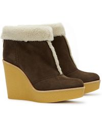 Chloé Brown Shearling Ankle Boots