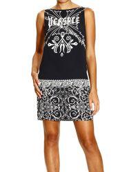 Versace Dress Sleeveless in Silk with Logo Print - Lyst
