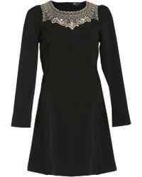 Cutie Embroidered Neck Dress - Lyst