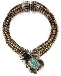 Miriam Haskell Crystal Insect Multi Strand Necklace gold - Lyst