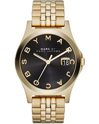 Marc By Marc Jacobs 36mm The Slim Golden Watch with Bracelet Black Dial - Lyst