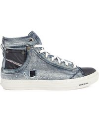 DIESEL | Exposure I Blue Denim/leather High-top Trainers | Lyst