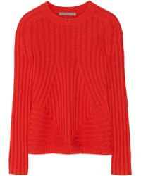 Halston Heritage Ribbed-knit Wool-blend Sweater - Lyst