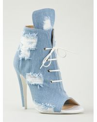 Off-White Distressed Lace Up Pumps - Lyst