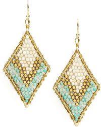 Panacea Beaded Woven Drop Earrings - Blue