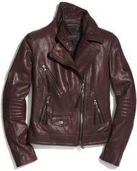 Coach Slim Leather Moto Jacket - Lyst