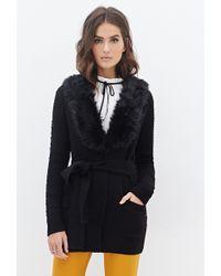 Love 21 Faux Fur Collar Cardigan - Lyst