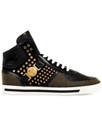 Versace Studded Hightop Leather Trainers - Lyst