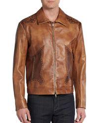 Etro Western Laser-cut Leather Jacket - Lyst