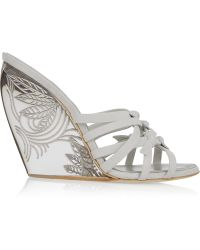 Donna Karan - Tiberias Suede And Perspex Wedge Sandals - Lyst