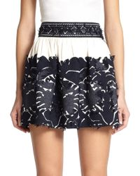 Chloé Embroidered Cotton Mini Skirt blue - Lyst