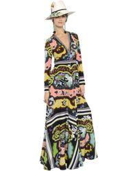 Etro Floral Printed Silk Crepe De Chine Dress - Lyst