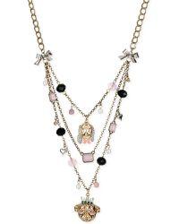 Betsey Johnson Gold-tone Dog Illusion Necklace - Lyst