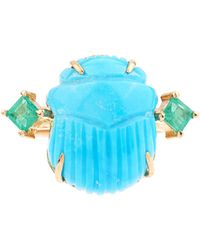 Silvia Furmanovich Tsavorite And Turquoise Yellow-gold Ring - Blue