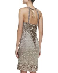 Sue Wong Embroidered Halter Cocktail Dress Taupe - Lyst