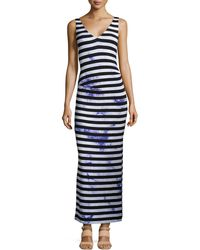 Nicole Miller Maxi Splash-dyed Striped Maxi Dress - Lyst