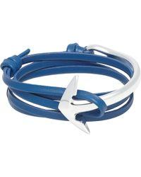 Miansai Leather Wrap Bracelet With Silver Anchor - Lyst