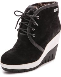 United Nude Lucy Faux Fur Lined Suede Booties  Blackwhite - Lyst