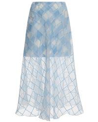 Oscar de la Renta Silk Checked Midi Skirt - Lyst