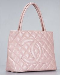 Chanel Pre-Owned Pink Caviar Leather Medallion Bag - Lyst
