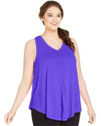 Calvin Klein Performance Plus Size Relaxed-Fit V-Neck Tank Top - Lyst
