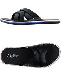 Armani Jeans Sandals black - Lyst