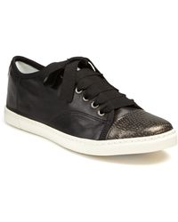 Lanvin | Leather & Metallic Snake-embossed Leather Sneakers | Lyst