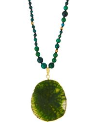 Panacea Beaded Crystal Pendant Necklace Green - Lyst