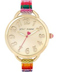 Betsey Johnson Goldtone Multicolored Strap Watch - Multicolour