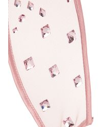 Fleur du Mal + Playboy Swarovski Crystal-embellished Tulle Bunny Ear Headband - Pink