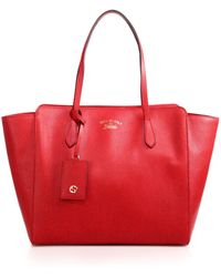 Gucci Swing Medium Leather Tote - Red