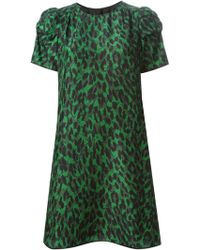 Marc Jacobs Printed Ruched Sleeve Dress - Lyst