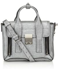 3.1 Phillip Lim Silver Leather Mini Pashli Satchel - Lyst