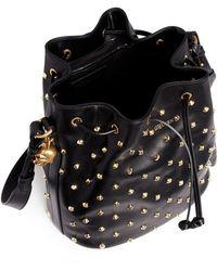 Alexander McQueen Skull Padlock Stud Leather Bucket Bag - Lyst