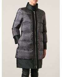 Moncler Gamme Rouge Crocodile Print Padded Coat - Gray