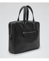 Reiss Clanton Leather Briefcase - Black