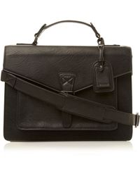 Dune Poughkeepsie Structured Mens Satchel - Black