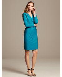 Banana Republic Faux Wrap Dress Turquoise Ocean - Lyst