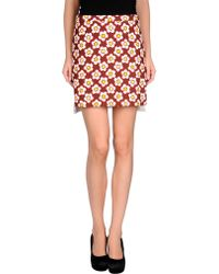 Miu Miu Red Mini Skirt - Lyst