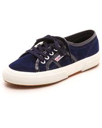 Superga Suede Patent Sneakers - Lyst