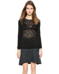 Nina Ricci Lace Long Sleeve Blouse Black - Lyst