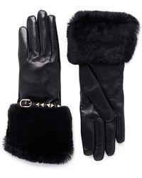 Valentino 'rockstud' Strap Orylag Fur Trim Leather Gloves - Black