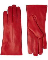 Harrods Rabbit Fur-lined Leather Gloves - Red