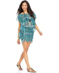 Jessica Simpson Flutter-sleeve Printed Cover Up - Lyst