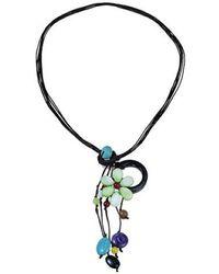 Aeravida - Pretty Drop Cluster Multi-stone Green Flower Pendant-necklace - Lyst